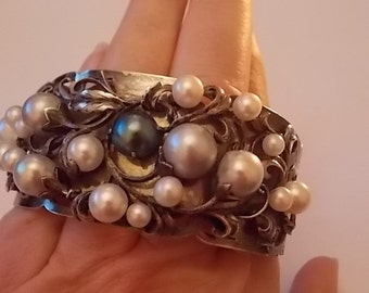 Vintage Silver Pearls Cuff Bracelet Bangle Signed Huge - BEAUTIFUL