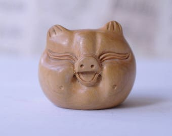 Carved Wooden Smiling Pig - China - Asia - Laughing Pig Ornament