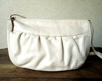 Long strap Shoulder Bag creamy ivory bone white soft ruched leather mori girl purse vintage 80s handbag small medium