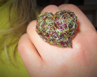 Heart ring Green ring Heart jewelry Wire ring Art jewelry Adjustable ring Large ring Statement ring Anniversary gift for women Love ring