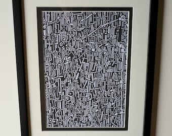 "Original Framed Sharpie Drawing ""Framed Yet Unnamed"" Detailed Black and White Drawing"