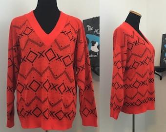 60s Red & Black Sweater Jumper