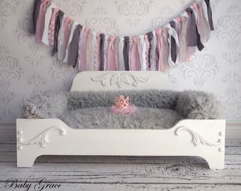 Princess Dog Bed, Wood Pet Bed, Newborn Prop Bed, Pet Furniture, READY TO SHIP, Small Pet Bed, Wood Bed, Furniture Prop, Newborn Photo Prop