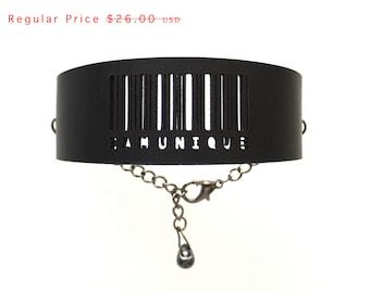 Slim Barcode Cuff bracelet in Black, IAMUNIQUE adjustable size with gunmetal chain. modern jewelry, leather