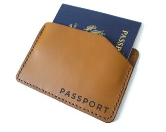 Minimal Passport Wallet in Caramel Brown Leather. one pocket holder cover travel gift for him her
