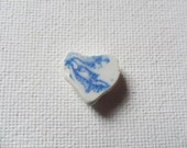 Reserved JACQULINE Blue and white sea pottery heart - Lovely English beach find from Lancashire NW England