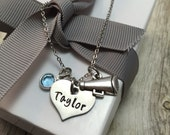 Cheer necklace, hand stamped stainless steel necklace, girls necklace, cheer team,