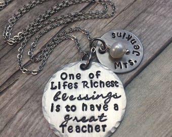 Teacher necklace, personalized teacher gift
