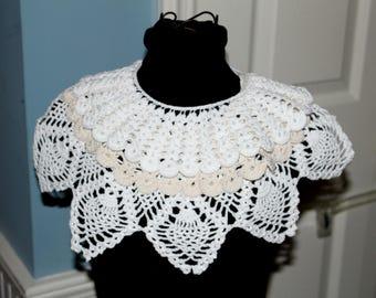 Vintage Crochet Collars Lot 3 Button Closures , Wide Crochet Collar , 2 Ladies White Crochet Collars & 1 Ecru Handmade