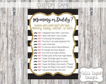 CUSTOM Mommy or Daddy Baby Shower Game, Black White Gold Baby shower game, Printable Shower games, Shower Quiz, Baby Shower Phrases Game