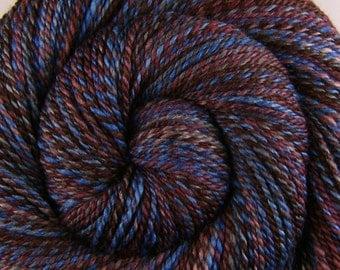 Handspun Yarn, DK weight - Under A Cloak Of Darkness - Handpainted 60/40 Polwarth/Silk, 288 yards, gift for knitter, handspun weft yarn