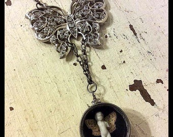 Frozen Charlotte Butterfly Necklace, Watchmaker's Tin, Butterfly Necklace