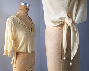 Special 1920s Vintage Silk Chiffon Blouse Continuous Braid Embroidery Tunic Side Tie