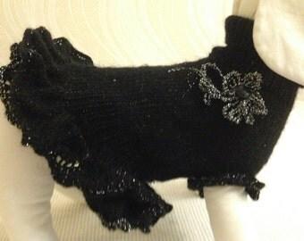 Handknit acrylic black dog dress/pet fashion/ pet clothes/elegant dress/coats