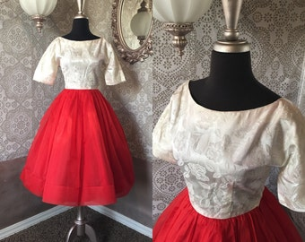 Vintage 1950's Cream and Red Party Dress Small