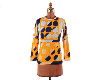 Vintage 1960's Orange + Navy Blue Mod Retro Abstract Op Art Circle Print Geometric Shirt Blouse Top S