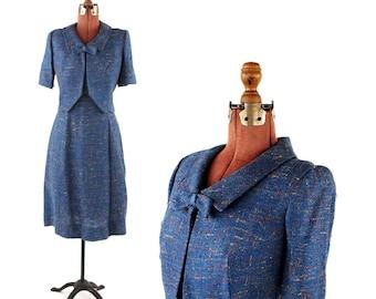 Vintage 1960's Dusty Blue Abstract Nubby Linen Knit Preppy Two Piece Crop Jacket + Dress Set L