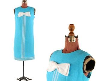 Vintage 1960's Bright Sky Blue Linen Mod Shift Scooter Bow Tie Retro Summer Dress S