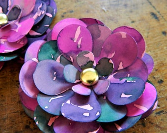 Lilly Pond - Water colored flower magnets - Set of 6 - Hand painted paper flowers