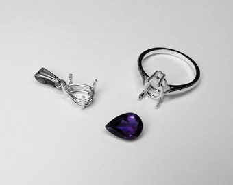 Amethyst in Pendant or Ring in Silver, 10 x 7 mm Pear
