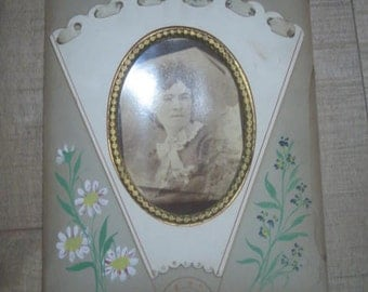 """Vintage/Antique Photograph of Women with Hand painted Mat with Ribbon. 8""""X 10"""""""