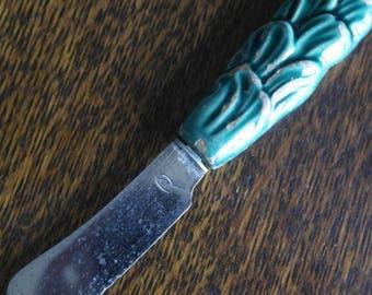 vintage cetamic handle small butter knife spreader