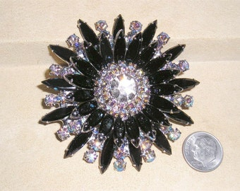 Vintage Large Juliana Black Glass Navette Brooch With Iridescent Rhinestones 1960's Jewelry 6047