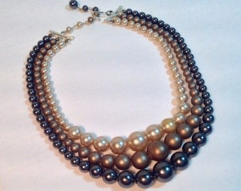 Triple Strand Colored Faux Pearl Necklace Mid-Century Modern Classic Style