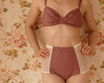Handmade Polka Dot Bra And High Waist Pantie Lingerie Set. U.K Sizes 8,10,12,14,16