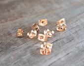 50 pairs Rose Gold Earring Backs 6mm Nickel Free