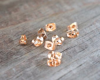 50 pairs Rose Gold Earring Backs 6mm Nickel Free