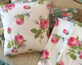 3 Handmade pillow covers by shabbyhome, 17 x 17 beautiful cabbage roses PAIR
