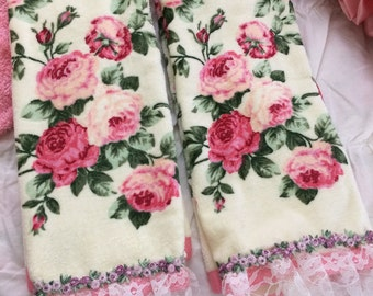 Handmade shabby hand towels, lace, roses, simply shabby chic 2 choices, you pick