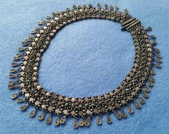 Vintage Genuine Turquoise Chainmail Necklace, made in India, silver with semiprecious gemstones, choker necklace