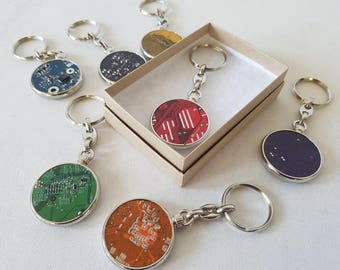 Circuit Board Keyring - Upcycled PCB Keychain