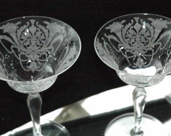 "Vintage Pair Elegant 1931 Morgantown Glass ""Carlton Madrid"" Etch Champagnes - FREE SHIPPING"