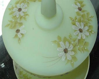 Vintage Fenton Daisies on Custard Glass Lidded Candy Hand Decorated - FREE SHIPPING