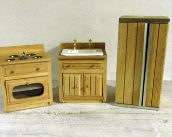 Wood Furniture, Doll House Furniture, Modern Kitchen , Diorama Decor, Miniature Furniture, Pretend Play