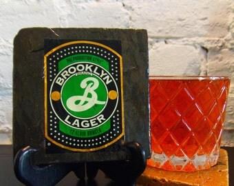 Handmade Brew Slate Coaster - Brooklyn Lager