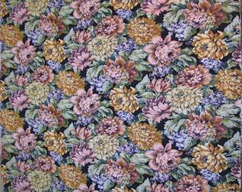 Floral Tapestry, Vintage Fabric, Black Background, Large Multi Color Floral, Green, Lavender, Gold, Pink, Blue