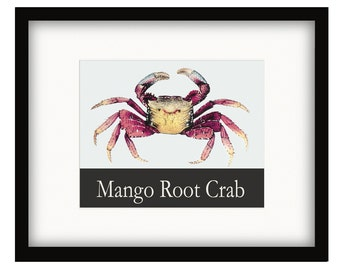 Coastal Décor Mango Root Crab Vintage Style Poster
