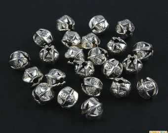 50Pcs Antique Silver Bead Spacer Polygonal Bead Spacer For Jewerly 7.5mm (PND1470)