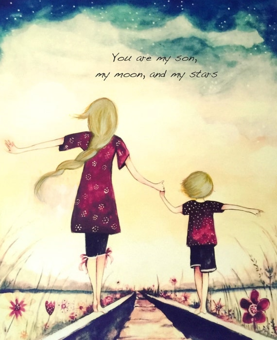 """Mother and son blonde, """"You are my son, my moon, and my stars"""""""