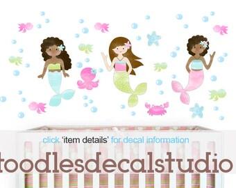Mermaid Wall Decal, Reusable Fabric Mermaid Decals, Ready to Hang, African American Mermaid Decals, Girls Sealife Nursery, Peel Stick Decal