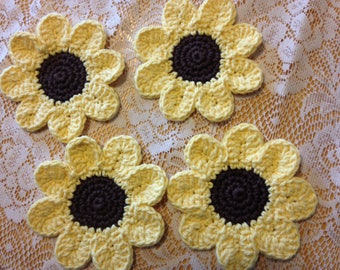 Crocheted Flower Coasters, Set of 4
