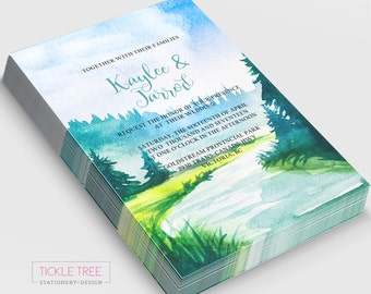Semi-Custom Wedding Invitations & Suite Options - Watercolour Forest and Stream/Mountainside (Style 13698)