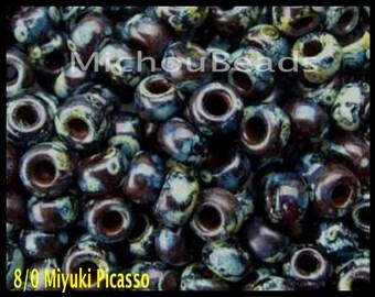 BULK 25 GRAMS 8/0 Garnet Trans Picasso Round Miyuki Seed Beads - Tiny 3mm Spacer Beads - DIY Usa Wholesale Discount  - 6905