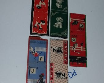 D 5 1940's matchbook covers Red Blue Green  mixed media paper art supplies Vintage paper ephemera lot Old