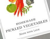 Pickled Vegetables, Relish Labels or Tags, set of 18