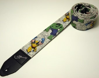 Comic book super heroes handmade guitar strap - This is NOT a licensed product